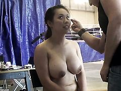 Blonde Tigerr Benson with big melons and Brandy Smile make lesbian love