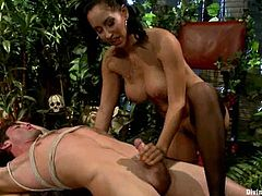 Slim brunette mistress ties the guy up and then drills his ass with the strap-on. After that she also rides his cock like an Amazon woman.