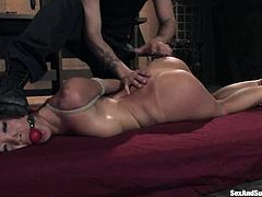 Asa Akira gets bound and tortured by Mr. Pete in a cellar. Then the man fucks Asa's coochie with his hard cock and makes the slut moan sweetly with pleasure.