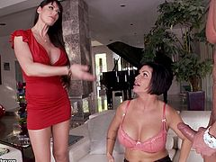 We got a wicked threesome going on here with some hot cougars, nice shaved pussy and more. Check it out and watch them go