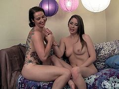 Amateur lesbians named Belle and Muse are down for their first lesbian action. Watch as they switch turns to experience some really deep orgasms for you all.