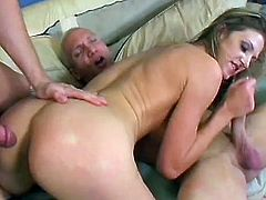Lusty babe deals with two cocks in dirty MMF in exchange for cash