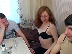 Amateur - Russian Bisexual - beautiful redhead MMF