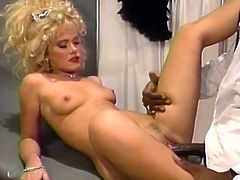 Pussy checkup went just as that hot blonde babe expected. Blonde bombshell enjoys sucking fat BBC and getting her wet shaved cunt fucked in missionary and doggy poses.