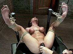 Big tittied brunette chick gets tied up by her master. Then she also gets her tits tortured with pumps. Later on she also gets her vagina toyed with a vibrator.