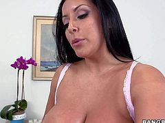 Black haired skilful sexy Kiara Mia with long whorish nails and enormously big firm balloons is one of a kind masseur. She does amazing handjob to her slim client.