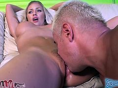 Curvaceous blonde hottie spreads the legs and gets her pussy licked by Porno Dan. After that she gets fucked on a sofa. This bombshell also toys her pussy with sex toys.