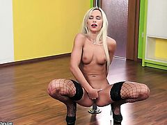 Blonde tramp is curious about stripping on camera