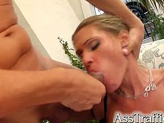 Take a look at this hardcore scene where this sexy blonde's fucked silly by two guys. Watch this slut being double penetrated by them in this threesome.