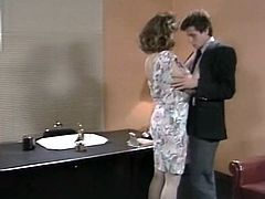 Enjoy watching retro threesome video from The Classic Porn studios! Curly big boobed bitch Christy Canyon gets her cooch plowed missionary style and gets her hairy snatch licked.