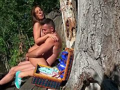 Stunning blonde girl sucks a cock standing on her knees outdoors. Then this hottie gets her sweet pussy licked and fucked.