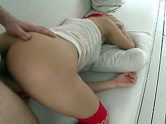This blonde bombshell is back with her favorite partner! She takes his dick with a two handed blowjob and gets fucked wild!
