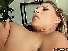 Brunette sex kitten Devon Lee with giant boobs shows off her sexy body as she gets her mouth banged