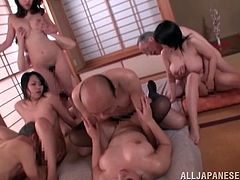 Busty Asian ladies get nailed by old men in an orgy