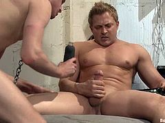 Lief Kaase gets face fucked by Michael Anthony in a prison cell. Then he also gets his ass toyed with electric dildo. Of course then he also gets fucked.