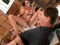 Busty girl in bodystockings lies down on a table. She gets her pussy and feet licked in the kitchen. Then Jaylyn gives a blowjob to her man.