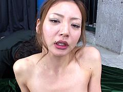 Torrid Japanese whore with small titties is sucking short dick vigorously. Her pussy is toy fucked while she is giving deepthroat blowjob. Mio gets her face glazed with huge cumshot in the end of the session.