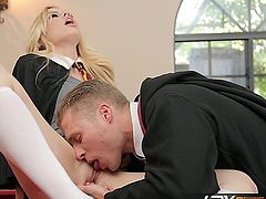 Watch this all natural blonde beauty Tara Lynn Fox as she seduces a fellow student into an awesome blowjob followed by some wild hard sex