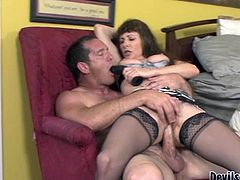 Lusty mature hairy mommy rides her stud in reverse cowgirl pose
