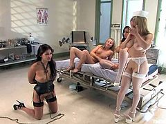 Aiden Starr, Isis Love and other chicks are playing BDSM games in a hospital ward. One of the chicks lets the others to bind and torture her and the girls enjoy it a lot.