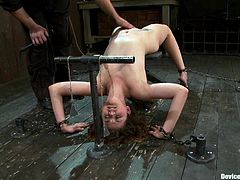 Nasty girl Allie Haze is getting her punishment in a basement. Some man puts the slut into a pillory, pulls her by the nipps and then smashes her coochie with a fucking machine.