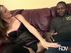 Watch the hot blonde Aspen Blue as she gets her tight pink clam gets munched by a black stud before riding his hard cock into a breathtaking orgasm. She looks hot in those stockings!
