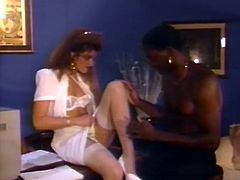 Brunette girl in white lingerie moans with pain while steamy anal sex