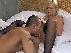 This mommy is so fucking filthy! Her husband is away and she can seduce and have sex with anyone she sees. THis dude is within her sexual orbit!