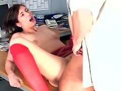 Secretary fucking in knee high stockings