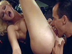 Alluring blonde milf with staggering forms gets hard fucked and covered in warm jizz