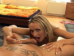 Watch this sexy blonde babe in her sweet POV blowjob scene.She strips off her clothes and shows her hot pussy and sexy little ass before she sits on her knees and sucks on that big cock in POV
