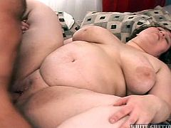 She's bent over and the guy pounds her big fat ass, making sure her pussy receives every inch of his dick. Her pussy needs a lot more then a serious drilling, it needs a big load of cum too! A few more strokes and the guy ejaculates in her vagina and then, takes out his dick. He's then playing with his fingers in her