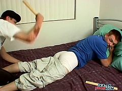 Blake Mason brings you a hell of a free porn video where you can see how a horny gay twink gets his young ass spanked by a friend while assuming very hot poses.