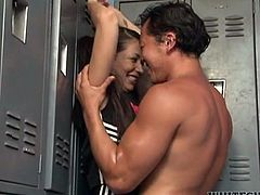 Sassy cheerleader babe got caught by her buff coed at the locker room after the game. Young pigtailed whore kneels down exposing her natural tits and gives sloppy deepthroat blowjob until cutie gets facialized.