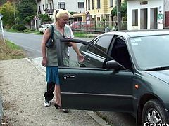 The game is simple! Two studs are in a competition to fuck as many grandmas, they can. The one, with the most fucked grannies, is declared the winner! This time is Melita, a blonde old whore, that's being picked up by one of our studs. She gets inside the car and they arrive home, but will he manage to fuck her?