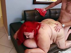 Plumper Pass brings you a hell of a free porn video where you can see how the vicious redhead bbw Jaymez Ryder sucks and gets fucked hard into a massive orgasm.