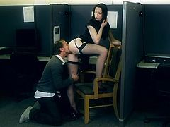 Naughty things happen in this office. The girls are watching porn and the boys wanna make it. Soon things get hot and heavy and one of the sluts wants to fuck. The dark haired beauty, with milky white skin and slutty face, gives her hot booty for some licking and then, kneels to suck cock like a whore