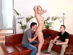 She's beautiful but she's just a cheap whore. Bianca fucks in front of this guy shamelessly! She allows the dude next to her to take off her panties, receives his tongue between her pussy lips and then kneels to suck cock. The other guy looks at her amazed and maybe she will allow him to join in!