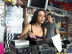 These girls make you wanna buy the whole store just to see them naked, kissing each other, sucking the guy's schlong and getting ready for bonking time.