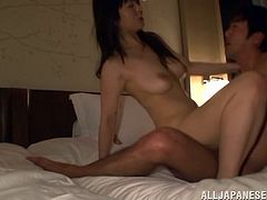 A gorgeous Japanese broad gets her pussy eaten out and rides a hard dick in this awesome hardcore sex scene right here, check it out!