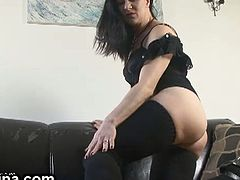 Mina is a hot milf dressed all black for her masturbation session. She's a great tease when she wants to and this time she does. She uses a dildo and a vibrator.