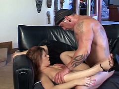 Busty redhead milf gets her shaved pussy licked hard by her man, then she spreads her legs and lets him fucks her shaved cunt as hard as sh can till he cums on her.
