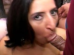 Lewd Indian milf Angel Flirt kneels in front of some guy and favours him with a blowjob. Then she stands on all fours and allows the guy to pound her pussy doggy style.