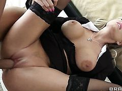 Darcy Tyler with giant jugs lets Keiran Lee stick his thick meat stick in her mouth
