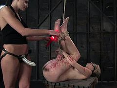 Truly painful scene even to watch! Juicy and desirable blond honey Fayth Deluca gets tied up and Nikki waxes her ass. Then the pumping begins.