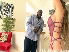 Busty babe June Summers is getting fucked by the big black cock from Lex Steele and her tight pussy can barely fit his huge chocolate stick. He nailed it super hard!