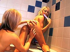 Cali Kayden and Breanne Benson are sexy bodied lesbian blondes that have a nice time dildo fucking each others tight pink holes. Watch passionate lesbian honeys do it in the bedroom.