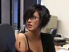 Juliette knows something valuable about her work colleague. They starts fighting and end up pleasing a guy's cock. One of them gets fucked more as a punishment.