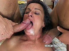 Check out this chubby and horny mature enjoying hardcore double penetration from two big dicks. She begs them to fuck her super hard and cum on her fucking face.