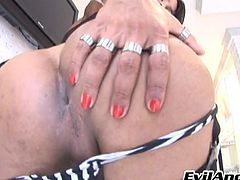 Kauana shows us her perky nipples and her tight anus. She's a filthy shemale whore that really needs a hard cock to get her anus stretched. After taunting us with her body, the tranny grabs her penis firmly and waves it in front of us. Yeah, this bitch deserves our attention so let's give her some.